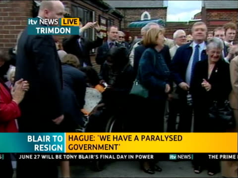 ITV News Special PAB 1140 1242 1239 Trimdon **Stephen Byers STUDIO intv part overlaid** Tony Blair greeting supporters as leaving Labour Club...