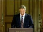 Tony Blair April 2007 monthly press briefing ENGLAND London Downing Street INT Tony Blair MP out to podium **flash photography** / Tony Blair press...