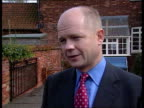 William Hague MP interview SOT Talks of narrow minded stupidity of Tony Blair's government London Estelle Morris MP along road and interview SOT...