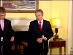 Tony Blair comments on possible UN sanctions Tony Blair and Ferenc Gyurcsany enter room for joint press conference Tony Blair MP press conference SOT...