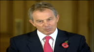 London Downing Street INT Tony Blair MP press conference SOT opposition on the death penalty is well known so actually Reporter Q heard SOT so should...