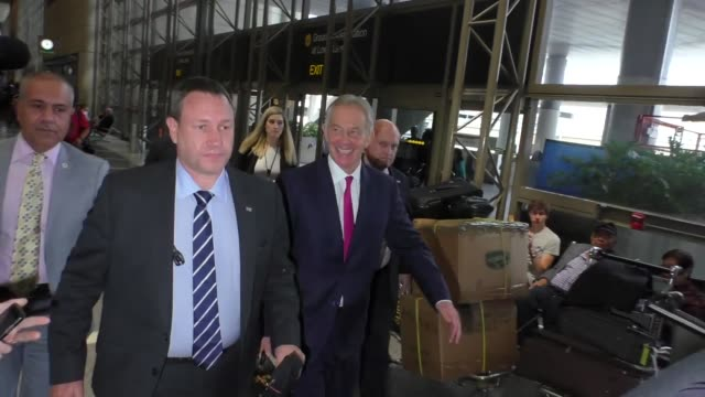 Tony Blair departing at LAX Airport in Los Angeles in Celebrity Sightings in Los Angeles