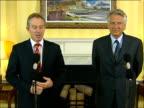 Tony Blair / Dominique de Villepin press conference ENGLAND London Downing Street INT Tony Blair MP and Dominique de Villepin into press conference...