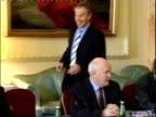 General views of discussions **Very faint audio throughout** PHOTOGRAPHY** ENGLAND London Downing Street INT Dr John Reid MP along into room meeting...