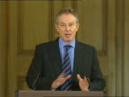 Tony Blair monthly press conference discussing lowincome families ENGLAND London 10 Downing Street INT Tony Blair MP press conference SOT I do not...