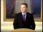 Tony Blair MP along to podium for press conference Tony Blair MP press conference SOT The shadow of Saddam has finally lifted from the Iraqi people /...