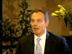 Tony Blair MP interviewed SOT Yes he made it clear that he believed that terrorism and issues to do with security were starting point of getting...