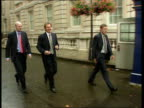 Tony Blair returns from summer holiday ITN London Downing Street i/c Mo Mowlam MP exits number 10 into car Tony Blair MP walks along Downing Street...