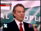 Tony Blair speech SOT Thanks staff police / Thanks people of Sedgefield I will do my best for Sedgefield / If the predictions are right it also looks...