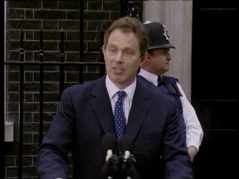 Tony Blair talks about his Government serving public during press conference outside No 10 Downing Street after Labour Party election victory 02 May...