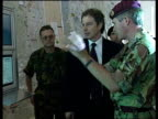 Tony Blair visits headquarters of NATO forces and shakes hands with troops Albania 18 May 99