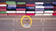 Top Down Aerial Shot of Containers Arranged on Dockside Yard