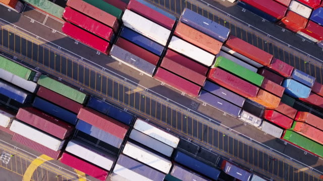 Top Down Flight Over Shipping Container Terminal