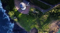Top Down View of Lighthouse and Footpaths in Cape Meares State Scenic Viewpoint, Oregon