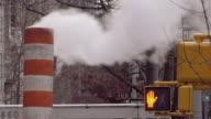 Top of a Smoking Smoke Stack Near 68th Street in Manhattan