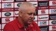 Top table press conference with head coach Warren Gatland previewing the second Test against the All Blacks British and Irish Lions head coach Warren...