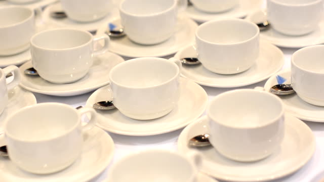top view : cup of coffee in conference hall