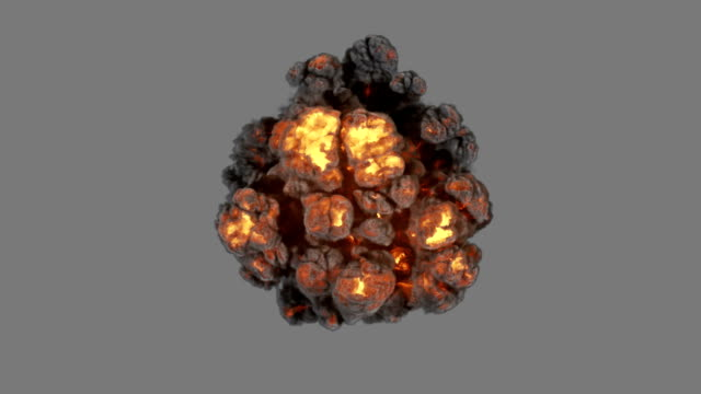 Top view explosion with smoke coming at cam