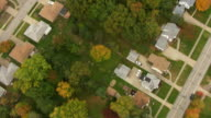 MS AERIAL Top View of neighborhood of houses / Cleveland, Ohio, United States