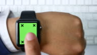 Top view of Using smart watch with Chroma key