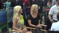Tori Spelling and Jennie Garth on the outside set of the Good Morning America show Celebrity Sightings in New York on June 25 2014 in New York City