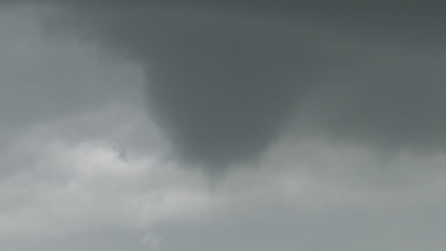 Tornado Begins To Take Shape, Funnel Cloud Rotating, Supercell Thunderstorm