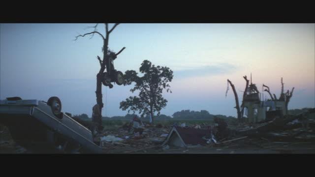 MS, Tornado destruction in rural area, USA