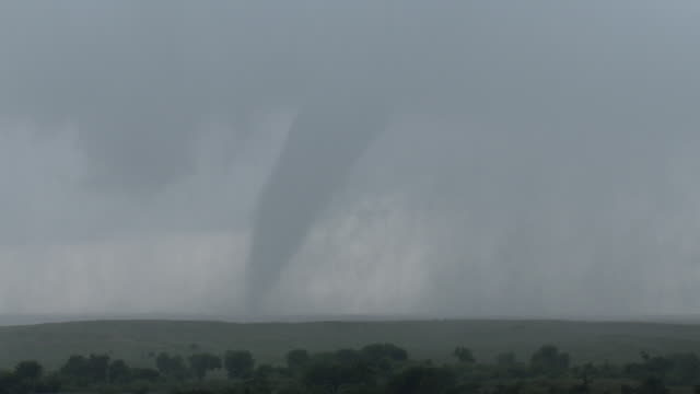 Tornado On The Ground Over Rural Texas Farmland, Supercell Thunderstorm