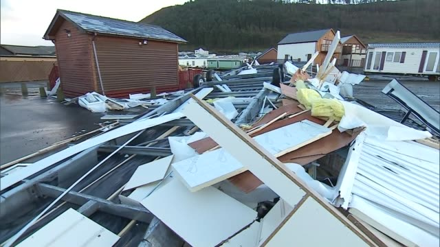 Aberystwyth EXT Various of damaged carvans and mobile homes in caravan park