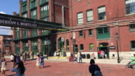 Toronto, Canada: Distillery District. Establishing shot with everyday lifestyle.  The old tourist attraction is a famous place.