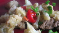 Toronto, Canada: Fusion cuisine, pork meat with cauliflower and soya sauce.