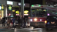 Toronto, Canada: Old Bombardier Streetcar at night in the downtown district
