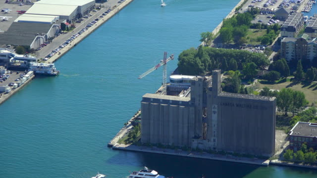 Toronto, Canada: Zoom in to the abandoned silos of the Canada Malting Company which are heritage of the Canadian city