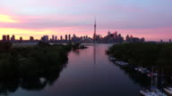 Toronto during sunset aerial footage