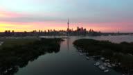 Toronto during sunset aerial footage