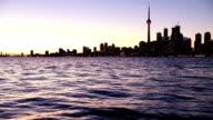 Toronto financial district cityscape illuminated at night