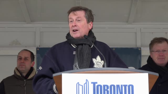 Toronto Mayor John Tory celebrates the new year's day with a 'skating party' outside the city hall Tory address the city with a short improvised...