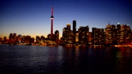 Toronto Skyline at Dusk Seen from Ferry in Lake Ontario