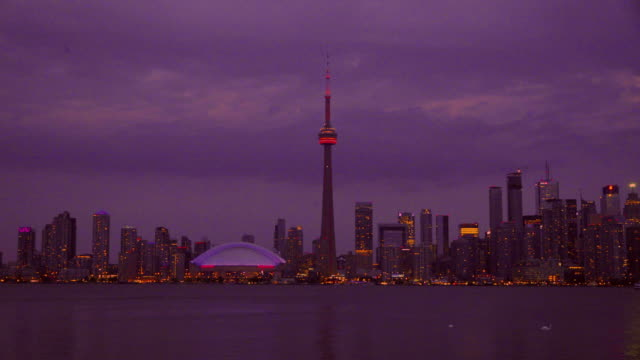 Toronto skyline colourized image including the CN Tower, Canada