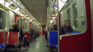 commuter point of view inside an old Bombardier TTC subway train