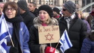'Je Suis Charlie' rally in support of Paris after the terror attacks Jewish people with Israeli flags and symbols The event is held at Nathan...