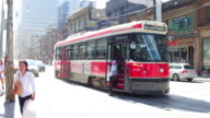 Toronto,Canada: Old Bombardier streetcars and every day traffic in the intersection of Dundas and Bay street during day. The downtown district is a famous place and tourist attraction in the Canadian city