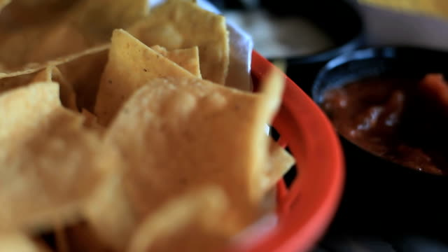Tortila chips, salsa, appetizer, dip, mexican food