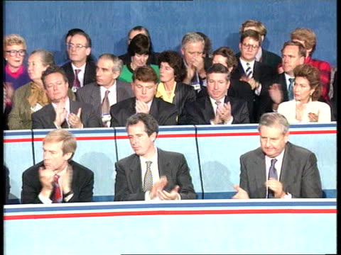 final day Major's speech ITN ENGLAND Lancashire Blackpool INT Prime Minister John Major MP along onto stage Conservatives in audience John Major MP...