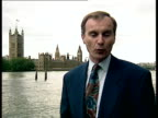 Tory minister Rod Richards resigns following alleged affair ENGLAND London Westminster EXT Reporter to camera