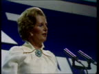 Tory Party Conference Thatcher on pay and opposition to Labour policies ENGLAND Brighton CMS Margaret Thatcher Conservative Party Leader speaks SOF...