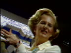 Tory Party Conference Thatcher receives birthday cake and bear ENGLAND Brighton MS Margaret Thatcher Conservative Party Leader holds up birthday cake...