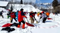 A total of 191 participants in 36 teams gathered in Okura Yamagata Prefecture on February 26 Japan in an annual competition to decide who could dig...