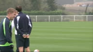 London EXT General views of Tottenham Hotspur players training on pitch including Lewis Holtby Andros Townsend Jermain Defoe Aaron Lennon Paulinho...