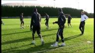 Tottenham Hotspur training GVs Emmanuel Adebayor training / Redknapp and Jordan / GVs Kevin Bond and Clive Allen joining in training / GVs Harry...